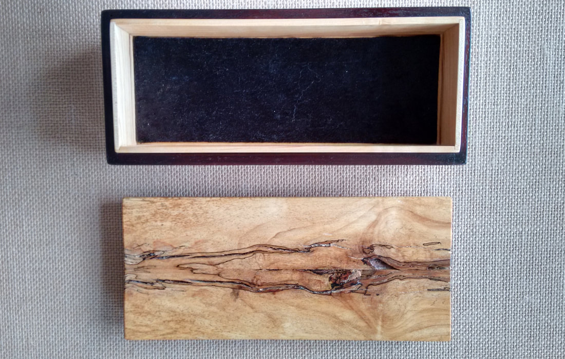 Interior View Handcrafted Spalted Maple Wood Treasure Box