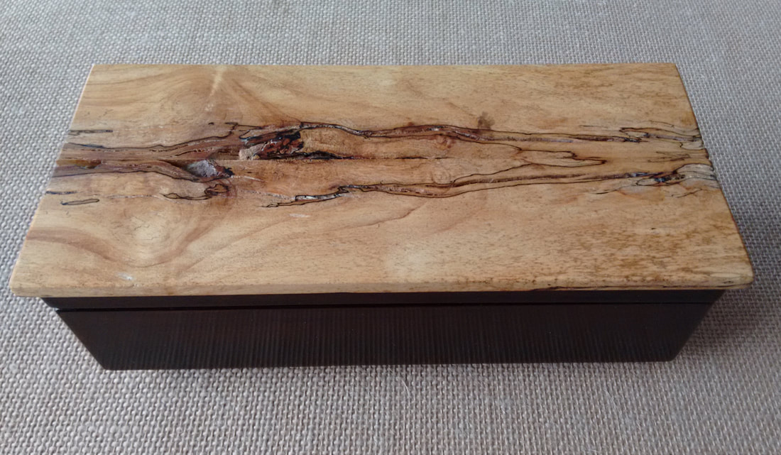 Side View Spalted Maple Wood Treasure Box